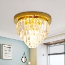 4-Bulb Crystal Ceiling Light Fixture Modern Style Gold Layered Corridor Flushmount Lighting