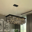 Rectangle Dining Room Island Pendant Modern Smoke Crystal 8 Bulbs Black Hanging Lamp, 23.5