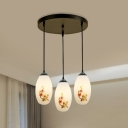 Oval Dining Room Cluster Pendant Light Pastoral Style White Glass 3-Light Black Finish Flower Pattern Hanging Lighting with Round/Linear Canopy