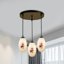 Black 3 Heads Multi Pendant Countryside White Glass Elongated Domed Hanging Light Fixture with Petal Pattern, Round/Linear Canopy