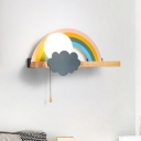 Rainbow and Sun Wall Light Fixture Cartoon Metal 1-Light Brown LED Sconce Lamp with Wood Storage Rack and Pull Chain