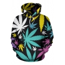 New Stylish Guys Long Sleeve Drawstring All Over Leaf Pattern Pouch Pocket Relaxed Hoodie in Black