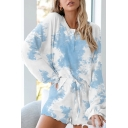 Casual Cozy Womens Long Sleeve Round Neck Button Up Tie Dye Leopard Print Relaxed Tee & Drawstring Waist Stringy Selvedge Shorts Pajamas Set