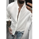 Simple Guys Solid Color Roll Up Sleeve Collarless Button Up Linen and Cotton Relaxed Shirt