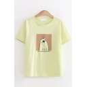 Lovely Girls Short Sleeve Round Neck Cartoon Bear Pattern Loose Fit T-Shirt