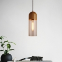 Wood Half Capsule Pendant Light Modern 1 Head Clear Glass Hanging Ceiling Lamp for Bedroom
