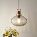 Oval Bedroom Suspension Pendant Smoke Gray Water Glass 1 Light Simple Hanging Lamp Fixture