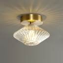 1 Head Bedroom Semi Flush Lighting Modernist Gold Flushmount with Diamond Clear Prismatic Glass Shade