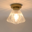 Clear Ribbed Glass Diamond Flush Light Fixture Modernism 1 Bulb Brass Flush Mount for Kitchen