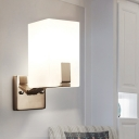 Cuboid Frosted White Glass Sconce Light Fixture Modernism 1 Light Nickel Wall Mount Lamp