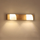 Wood Linear Flush Wall Sconce Asian Style 2/3-Light Beige Wall Mount Lighting for Bathroom