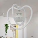 Acrylic Ellipsoid Chandelier Lamp Contemporary White LED Hanging Light Fixture with Dual Loving Heart Frame for Hallway