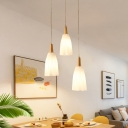 Prismatic White Glass Cluster Pendant Light Japanese 3-Light Wood Hanging Ceiling Lamp