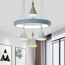 Tapered Cluster Hanging Light Modernist Acrylic 4 Heads White Suspension Pendant with Ring Design for Bedroom