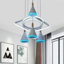 Conical Cluster Pendant Light Modernist Acrylic 4 Bulbs White Ceiling Lamp with Twisting Design