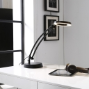 Modernism LED Desk Light White/Black Finish Loop Rotatable Reading Book Lamp with Metal Shade for Study Room
