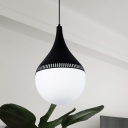Black Teardrop Hanging Light Kit Modern 1 Head Cream Glass Suspended Pendant Lamp