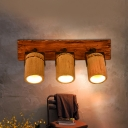 2/3 Lighting Wall Hanging Light Retro Style Tubular Bamboo Wall Sconce Lighting in Brown with Wood Linear Backplate