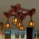 5 Lights Semi Flush Traditional Living Room Ceiling Lamp with Cone Wood Shade in Brown