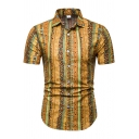 Hawaii Style Boys Short Sleeve Spread Collar Button Up All Over Floral Print Regular Fit Holiday Shirt