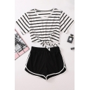Chic Girls White Short Sleeve Round Neck Striped Tied Hem Fitted Crop Tee & Contrast Piped Shorts Set