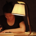 Grey Barrel Reading Light Modernism 1-Light Fabric Night Table Lamp with Arc Wood Arm