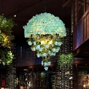 Blue 10 Lights Hanging Chandelier Retro Iron Dome Wire Cage Suspension Lamp with Crystal Drop