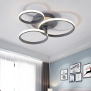 Simplicity 3 Rings Semi Flush Acrylic Bedroom LED Flush Mount Ceiling Lamp in Grey/White/Black and White