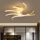 White Multi Tiers Curved Semi Flush Mount Contemporary Acrylic LED Ceiling Lighting for Living Room