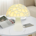Resin Mushroom Shape Table Light Contemporary LED White Nightstand Lamp for Bedside
