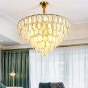 Oval Crystal Semi Flush Lighting Contemporary 5 Lights Living Room Cone Close to Ceiling Lamp in Gold