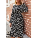 Pretty Ladies Ruffled Long Sleeve Round Neck Ditsy Floral Print Midi A-Line Dress in Black