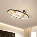 Black Orbit Flush Ceiling Light Kids Style LED Acrylic Flush Mount Lighting Fixture in Warm/White Light