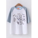 Preppy Girls Raglan Short Sleeve Crew Neck Letter BOOM Cartoon Graphic Relaxed Fit Tee Top