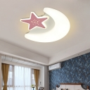Acrylic Moon and Star Flush Mount Lighting Fixture Minimalistic LED Pink/Blue Ceiling Lamp for Children Bedroom