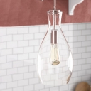 Modern Vase Clear Glass Hanging Lamp Single-Bulb Ceiling Suspension Lamp for Kitchen