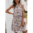 Fancy Girls Sleeveless Crew Neck All Over Floral Printed Drawstring Waist Short A-Line Holiday Dress