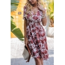 Pink Fashionable Short Sleeve Surplice Neck All Over Flower Printed Gathered Waist Midi Pleated A-Line Dress