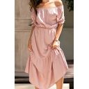 Casual Stylish Ladies Solid Color Short Sleeve Off the Shoulder Ruffled Trim Long Pleated A-Line Dress