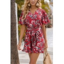 Gorgeous Red Bell Sleeve Surplice Neck All Over Floral Printed Bow Tie Waist Ruffled Relaxed Romper for Ladies