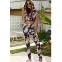 Sportswear Short Sleeve Hooded Drawstring Allover Flower Print Fit Crop Tee & Striped Ankle Skinny Pants Set