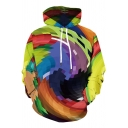 Chic Mens Long Sleeve Drawstring Abstract Geo 3D Patterned Colorblock Loose Fit Colorful Hoodie