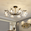 Clear/Cream Glass Branching Semi Flush Postmodern 8 Bulbs Black-Brass Ceiling Mount Chandelier with Dome Shade