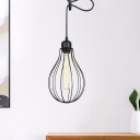 1 Head Pear Cage Pendant Lighting Industrial Black Finish Iron Mini Hanging Lamp Kit with Adjustable Cord