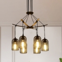 6/12-Light Bell Mesh Hanging Chandelier Industrial Black Finish Iron Pendant Lamp Fixture