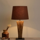 Tapering Wood Strip Table Lamp Contemporary 1-Light Coffee Nightstand Light with Cotton Shade
