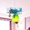 Metal Flyer Plane Pendant Light Kit Kids Single-Bulb Red/Yellow/Blue Ceiling Suspension Lamp with Bell Glass Shade