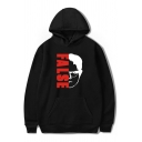 Chic Boys Long Sleeve Letter FALSE Cartoon Face Graphic Pouch Pocket Loose Hoodie