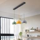 Macaron Onion Multi-Pendant Iron 3-Light Dining Room Ceiling Hanging Light in Grey-Yellow-Green