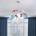 Acrylic Flower Shape Pendant Lamp Contemporary 8-Light LED White Hanging Ceiling Light